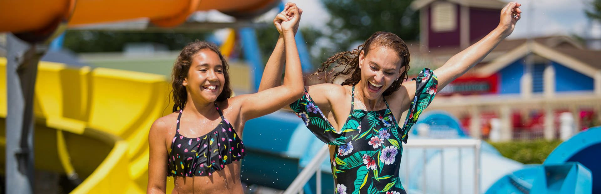 Girls in water park