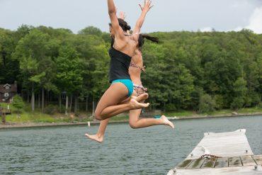 Water Recreation Girls Dock Jumping Lake Wallenpaupack 3 PoconoMtns